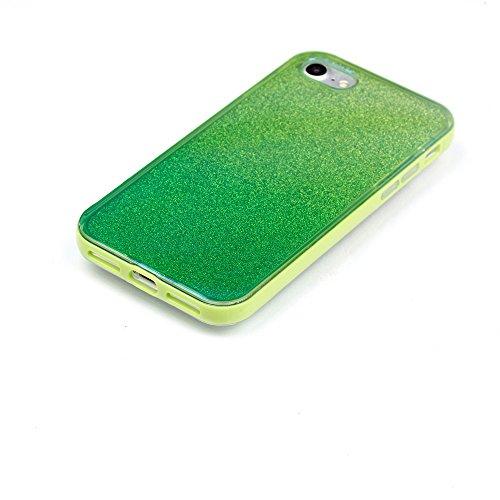 Gradient Color Glittery Powder Blue-ray IMD TPU + PC Rim Combo Tasche Hüllen Schutzhülle Case für iPhone 7 4.7 - Green