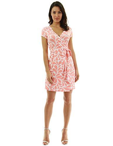 (PattyBoutik Women Cap Sleeve Faux Wrap Print Dress (Orange and White 28 Small))