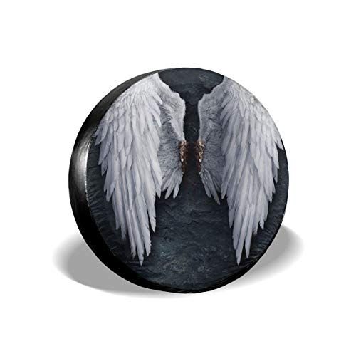 (Pan~! Feathered Wings of Angel Tire Cover Polyester Waterproof Dust-Proof Universal Spare Wheel Tire Cover Fit for Jeep Trailer RV SUV and Many Vehicle 14 Inch)