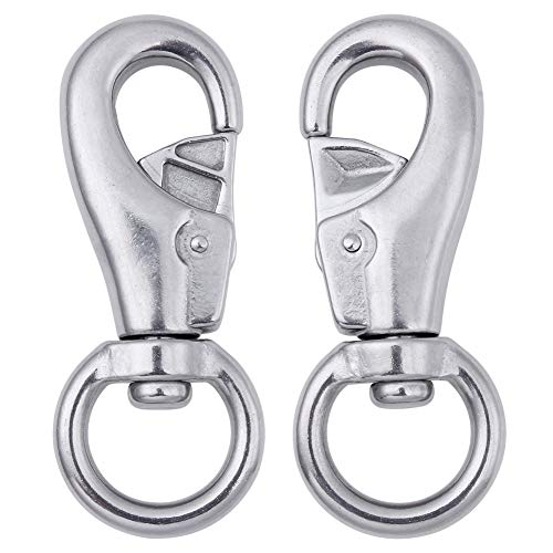 AOWISH 2-Pack Hanging Chair & Hammock Chair Swivel Hook Snap - 304 Stainless Steel Swivel Hooks - Heavy Duty 700 Lbs Capacity Per Solid Sturdy Swivel Hook - Outdoor/Indoor (Silver)