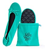 Women's Foldable Portable Travel Ballet Flat Roll Up Slipper Shoes (Large, Sea Green)