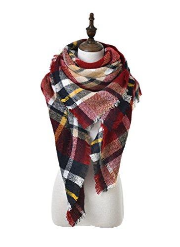 POSESHE Stylish Warm Blanket Scarf Gorgeous Wrap Shawl,D wine Red,One (Stylish Wrap)