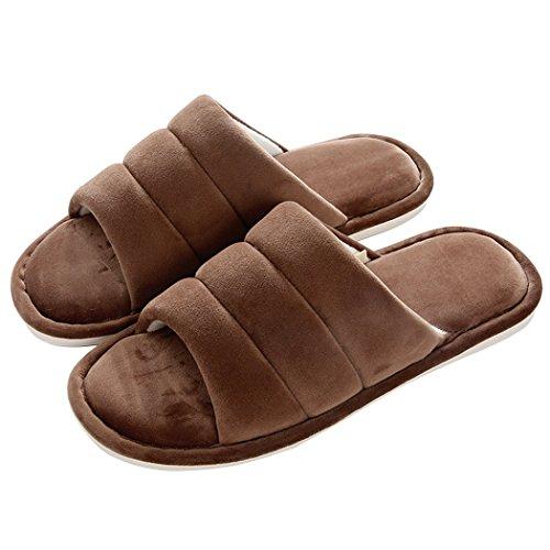 MiYang Winter Women/Men Soft Open Toe Indoor Anti- Slip Slippers Coffee