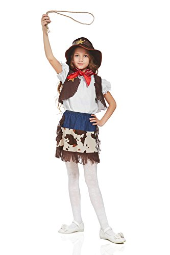 Kids Girls Costume Ranger Sheriff Rodeo Cowgirl Wild West Party Outfit & Dress Up (3-6 years, Brown/White/Blue/Hat)