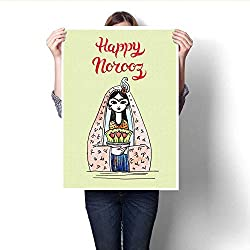 Anshesix Canvas Wall Art Hand Drawn Greeting Card Template Persian New Year Holiday Frameless Canvas Texture decoration32 x36