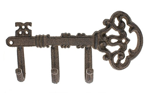 "Decorative Wall Mounted Skeleton Key Holder | Vintage Key With 3 Hooks | Wall Mounted | Rustic Cast Iron | 7.9 x 4.1""- With Screws And Anchors By Comfify"