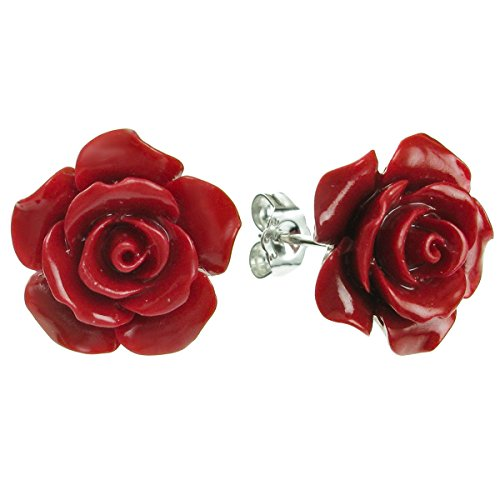 Sterling Silver Simulated Red Coral Rose Earrings Stud Post 15mm (Earrings Red Rose)