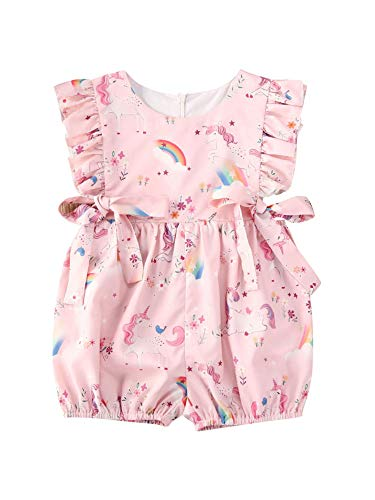 WangsCanis Eendelig voor pasgeborenen, roze, ronde hals, mouwloos, strik, eenhoorn-print, fotooverall, party, verjaardag…