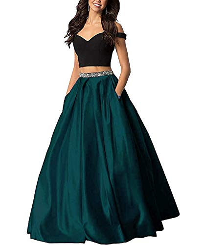 Sophie Women's Off The Shoulder 2 Piece Beaded Prom Dresses 2019 Satin Long Evening Gowns Formal with Pockets Teal Size 6