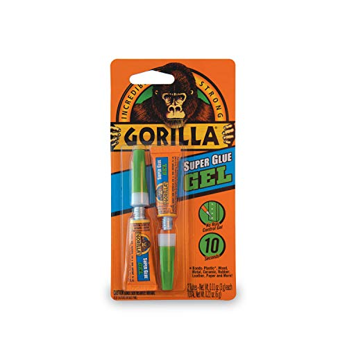 Gorilla Super Glue Gel, Two 3 Gram Tubes, Clear -