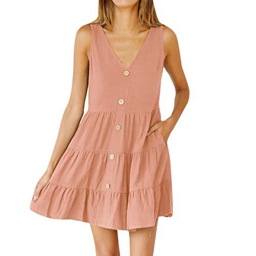 RIUDA Women's Summer Sundress Spaghetti Strap Button Down Dress with Pockets Pink ()
