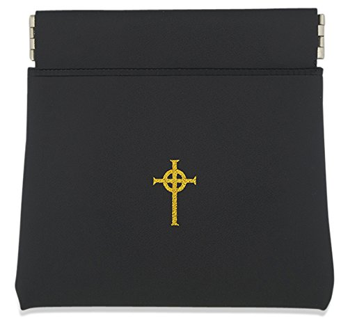 Coin Purse Style Rosary Pouch with Celtic Cross (Black)