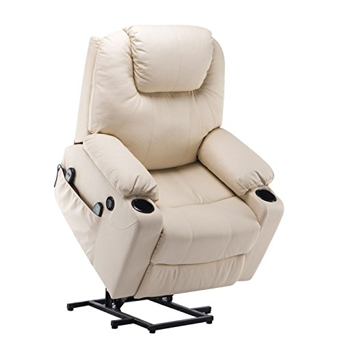 Mcombo Electric Power Lift Massage Sofa Recliner Heated Chair Lounge w/Remote Control USB Charging Ports, 7045 (Cream White)