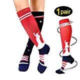 Compression Socks For Women Men 20-25mmHg-Best Medical, Nursing, Travel & Flight Socks (L/XL, Statue of Liberty)