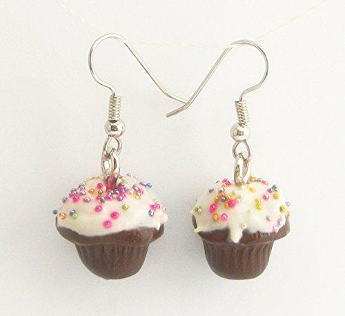 Chocolate Birthday Cupcake with White Icing Rainbow Sprinkles