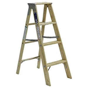 Michigan Ladder 1311-04 250 Pound Duty Rating Type 1 Stocky Wood Stepladder, 4-Foot