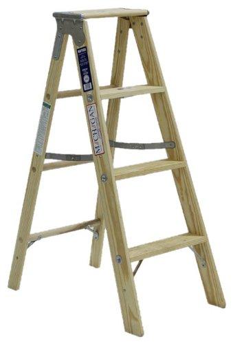 Michigan Ladder 1311-04 250 Pound Duty Rating Type 1 Stocky Wood Stepladder, 4-Foot by Michigan Ladder