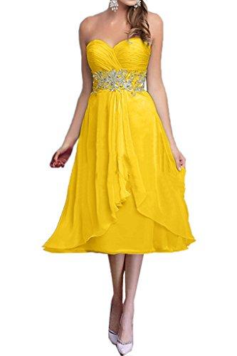 mia Damen Gelb La Blau Dunkel Chiffon Traegerlos Kurz Braut Abendkleider Hell Brautmutterkleider Partykleider H1EExw