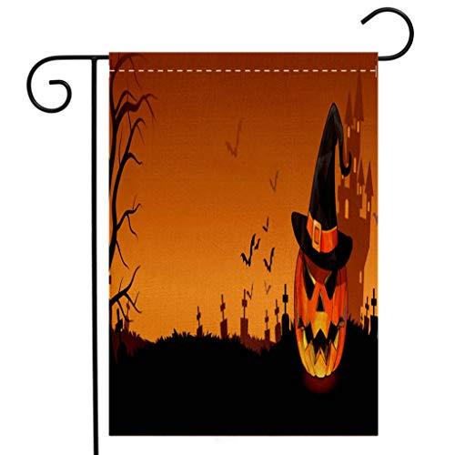 BEIVIVI Custom Double Sided Seasonal Garden Flag Jack The Pumpkin on Graveyard Halloween Banner Welcome House Flag for Patio Lawn Outdoor Home Decor