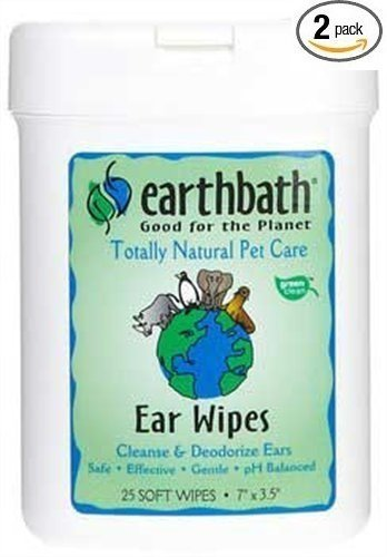 Earthbath All Natural Specialty Ear Wipes 25 Wipes, Pack of 2 (50 Wipes)