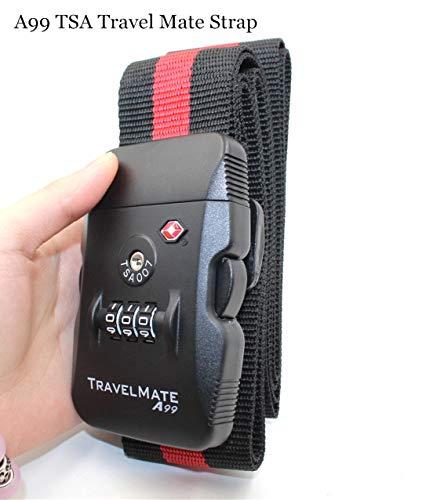A99Correa TSA Travel Mate. Digital Dial Caja Fuerte veliz Lock combinación equipaje Correa, Negro/Rojo