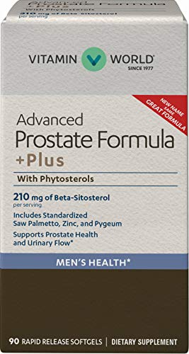 Vitamin World Advanced Prostate Formula +Plus with Phytosterols 90 Softgels, Advanced Prostate Formula, Saw Palmetto, Zinc, and Pygeum, Rapid-release, Gluten Free