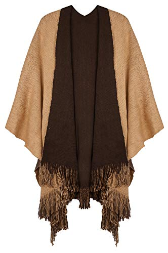 (Lovful Women's Winter Reversible Blanket Poncho Cape Sweater Coat Shawl Cardigans )
