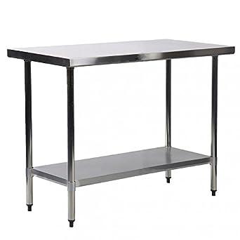 Amazon.com: Mesa de trabajo de cocina de acero inoxidable de ...