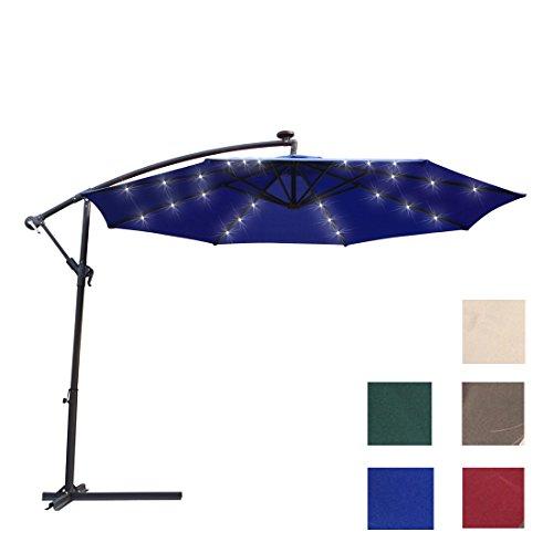 Kosycosy 10 ft LED Lighted Cantilever Umbrella Solar Power Patio Umbrella Offset Outdoor Market Hanging Umbrellas, Crank with Cross Base (Blue)