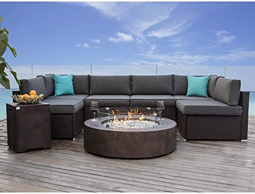COSIEST 8 Piece Propane Firepit Table Wicker Sectional Sofa,Chocolate Brown Patio Set w 42-inch Round Bronze Fire Table 50,000 BTU , Wind Guard and Tank Cover 20 Gallon for Garden,Pool,Backyard