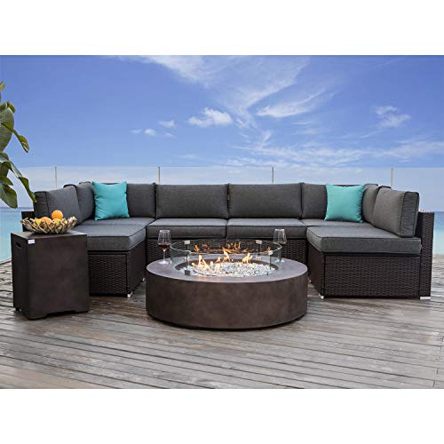 COSIEST 8 Piece Propane Firepit Table Wicker Sectional Sofa,Chocolate Brown Patio Set w 42-inch Round Bronze Fire Table (50,000 BTU), Wind Guard and Tank Outside (20 Gallon) for Garden,Pool,Backyard