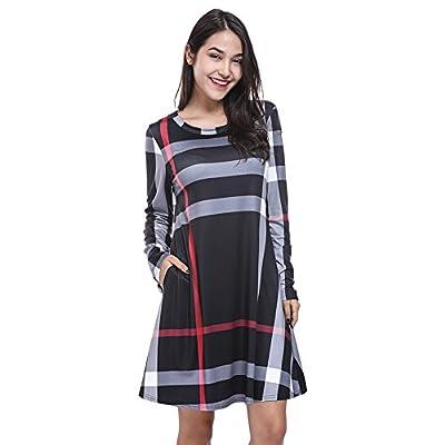 Fancyqube Women's Long Sleeve Plaid Striped Pockets Loose Swing T Shirt Dress