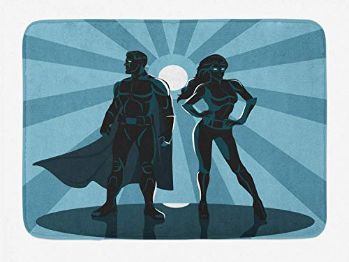 Superhero Bath Mat, Man and Woman Superheroes Costume with Masks Capes Night Protector in Moonlight, Plush Bathroom Decor Mat with Non Slip Backing, 30INCHES Wide x 18 INCHES Long, Blue Teal]()