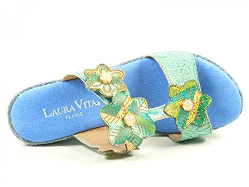 Laura Vita SL3036-4A Beaute 04 Zuecos fashion de cuero mujer Türkis