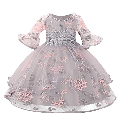 Floral Baby Dress Princess Outfit Onesies Bodysuit Bridesmaid Pageant Gown Birthday Party Wedding Dress Size 3-18 Months (6-12 Months (12M), Gray) ()
