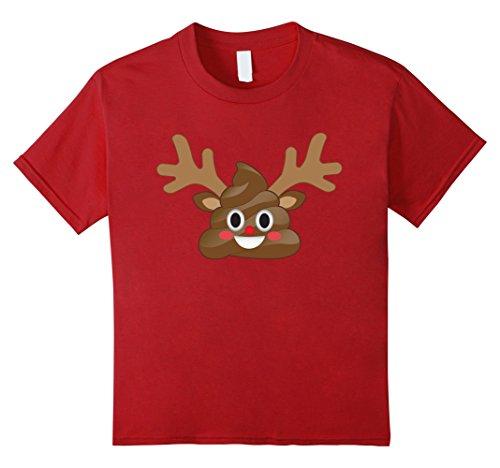 Kids Funny Christmas Emoji Poop Reindeer T-Shirt - Rudolp...