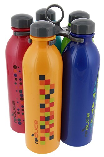 reduce WaterWeek Classic Reusable Water Bottle Set with Carry Carousel - 5 Flask Pack, 16oz - BPA Free, Leak Proof Twist Off Cap - Assorted Colors - Perfect for Sport - Simply Fill, Chill & Go