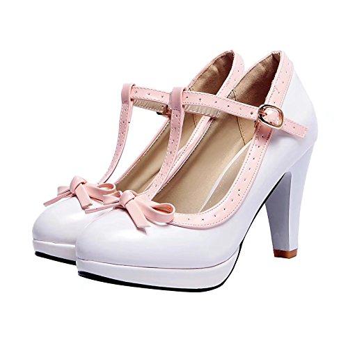 AIYOUMEI Elegant Spange Knöchelriemchen T Schnalle Pumps Weiß Spike Schleife Damen mit Schuhe Abend Heel und PtqrwT5q
