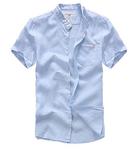 ONCEFIRST Men's Banded Collar Shirt Summer Short Sleeved Linen Shirts Vacation Shirt Light Blue US XL