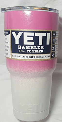 Yeti Rambler, Powder Coated, Custom Colors (30 ounce, Bubblegum Pink/Pearl White) by YETI