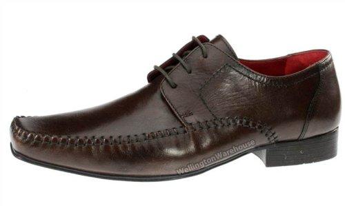Red Tape Ching Chaussures en cuir véritable à enfiler Bout façon mocassin Homme - Marron - marron, 44 (10 UK)