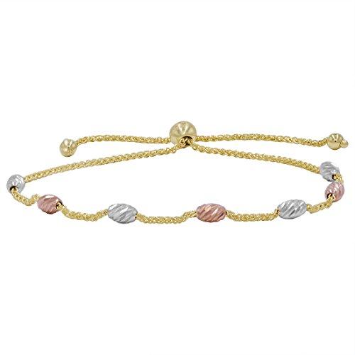 Amanda Rose 14k Tri-tone Gold Beaded Bolo Bracelet (Adjustable)