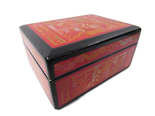 The Reliquary of Treasures Olinala Hand Carved Incised Medium Squarish Lacquerware Wooden Stash Jewelry Trinket Storage Box Crafted in Mexico (Black-Red Forest)