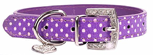 Pet's House Dog Collars for Small Dogs Girl Bling Leather (Purple Leather Dog Collar)