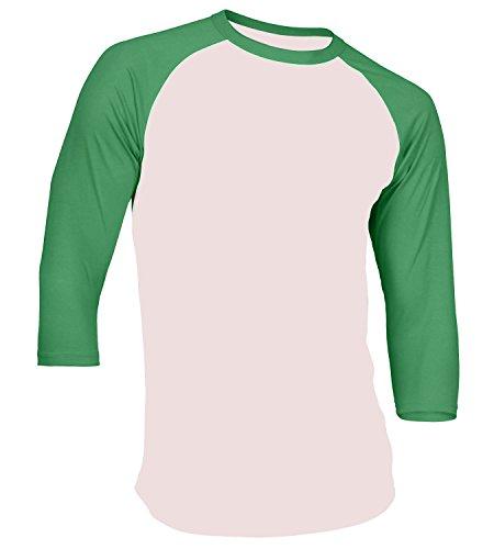 Men's Plain Athletic 3/4 Sleeve Baseball Sports T-Shirt Raglan Shirt S-XL Team Jersey White Kelly Green XL