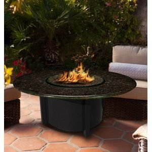 California Outdoor Concepts 5010-BK-PG11-BM-48 Carmel Chat Height Fire Pit-Black-Copper Reflective Glass-Black Mahogany-48 in.