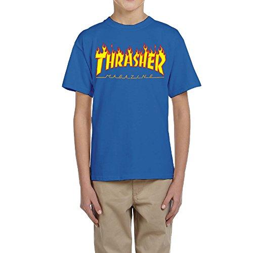 MERTYY-Unisex-Kids-Thrasher-Magazine-Skateboarding-T-shirt