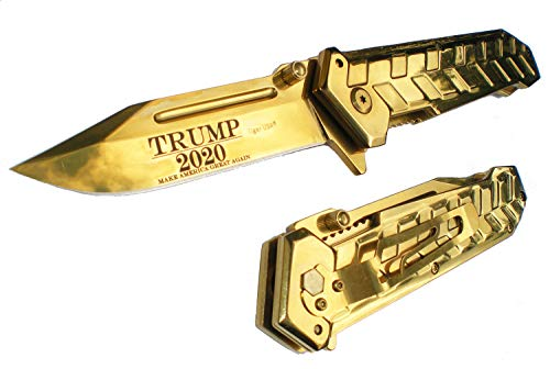 "9"" GOLD HEAVY DUTY TRUMP 2020 Support MAGA Make America Great Again! Pocket Knife"