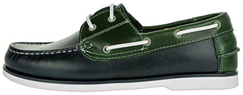 Beppi Herren Lederschuhe | Schuhe Bequem Weich Blau-Grün| Business-Schuhe Made in Portugal | Männer Bootsschuhe Freizeitschuhe Lederhalbschuhe | 40-45