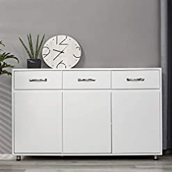Kitchen OSW Modern Sideboard Storage Cabinet with Three Doors and Three Drawers, White modern buffet sideboards